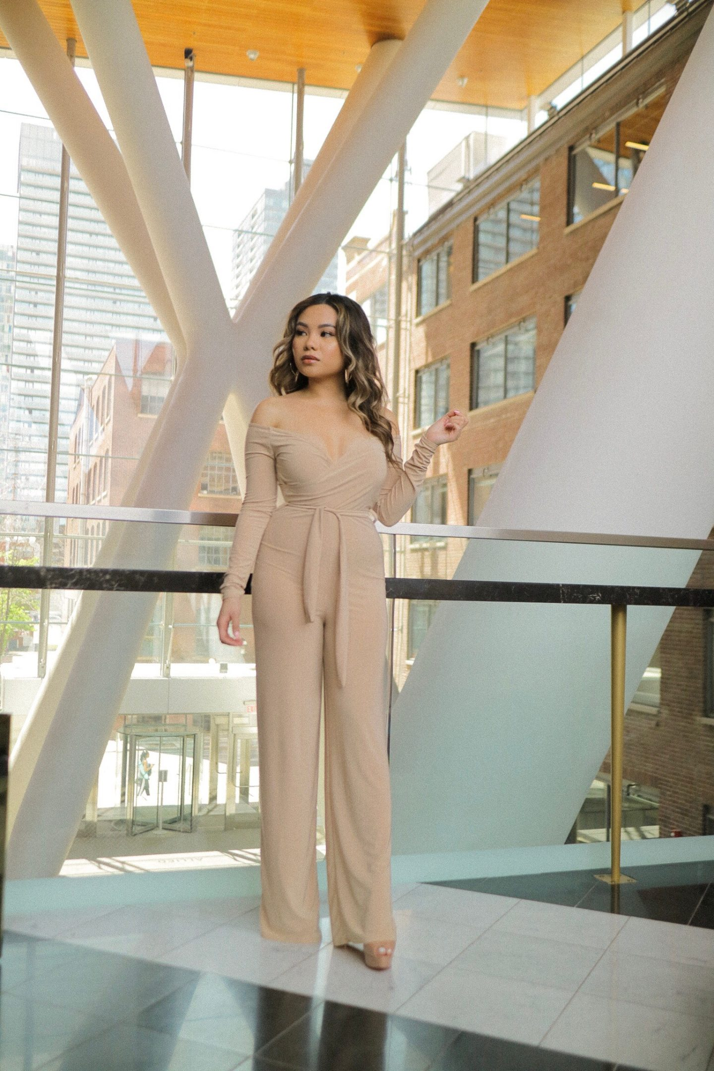 Stone Slinky Long Sleeve Wide Leg Off the Shoulder Jumpsuit